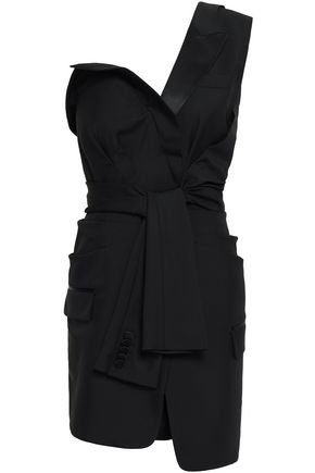 ALEXANDER WANG One-shoulder tie-front wool and mohair-blend mini dress