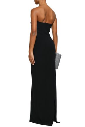 ALEXANDER WANG Strapless ruched tulle-paneled crepe gown