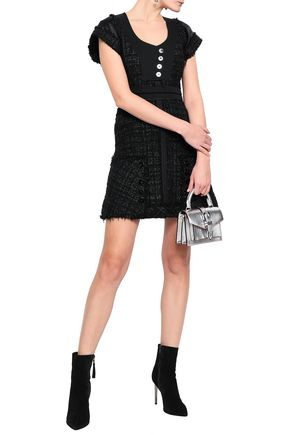 ALEXANDER WANG Satin and twill-trimmed metallic tweed mini dress