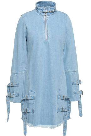 MARQUES' ALMEIDA Frayed buckle-detailed denim mini dress