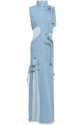 MARQUES' ALMEIDA Frayed buckle-detailed cutout denim maxi dress