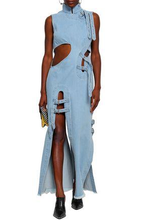 MARQUES' ALMEIDA Frayed buckle-detailed cutout denim maxi dress