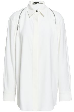 ALEXANDER WANG Zip-detailed satin-crepe shirt
