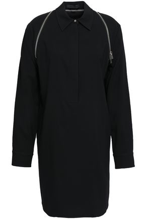 ALEXANDER WANG Zip-detailed satin-crepe mini shirt dress