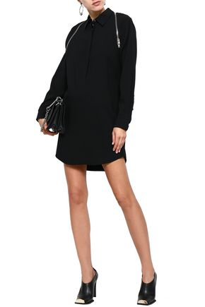 ALEXANDER WANG Zip-detailed satin-crepe mini shirt dress