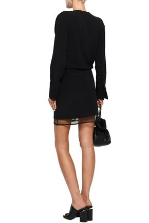ALEXANDER WANG Layered tulle and crepe de chine mini dress