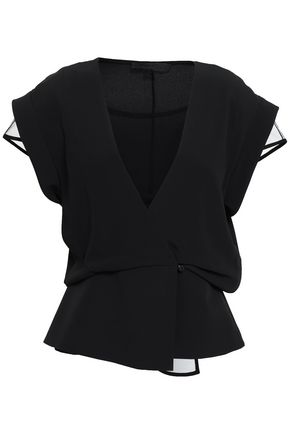 ALEXANDER WANG Wrap-effect layered tulle and crepe de chine top