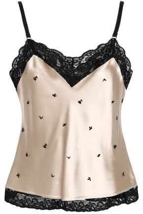 ALEXANDER WANG Embellished lace-trimmed satin camisole