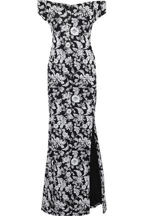 ZAC POSEN Off-the-shoulder floral-jacquard gown