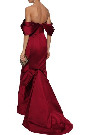 ZAC POSEN Off-the-shoulder fluted duchesse-satin gown