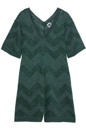 M MISSONI Metallic pointelle-knit playsuit