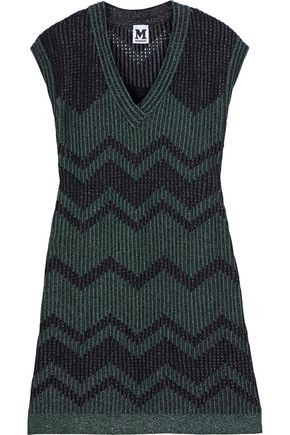 M MISSONI Metallic pointelle-knit mini dress