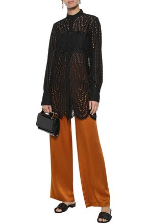 VALENTINO Broderie anglaise cotton-blend tunic