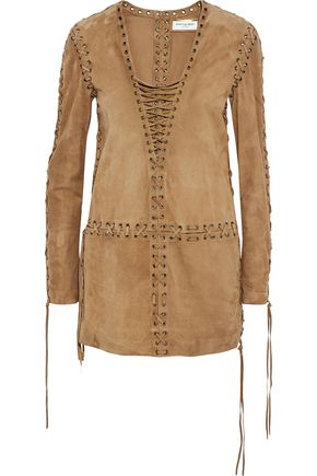 SAINT LAURENT Lace-up suede tunic