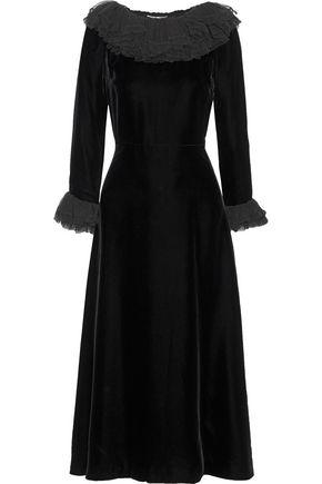 SAINT LAURENT Ruffled tulle-trimmed velvet midi dress