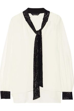 RACHEL ZOE Courtney pussy-bow sequin-trimmed crepe de chine blouse
