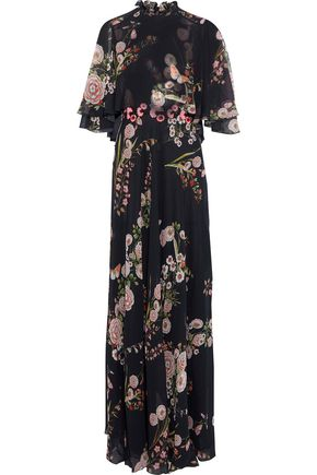 GIAMBATTISTA VALLI Cape-effect appliquéd floral-print silk-georgette gown