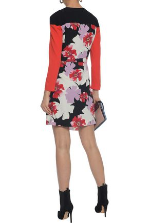 ETRO Pleated floral-print wool-crepe wrap mini dress