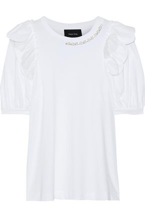 SIMONE ROCHA Ruffled embellished cotton-jersey top