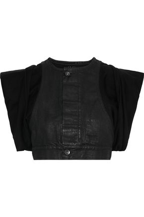 RICK OWENS Cropped knit-paneled coated denim top
