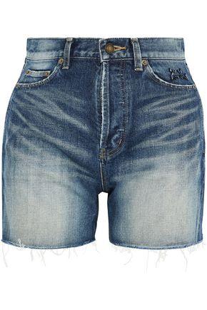 SAINT LAURENT Embroidered distressed denim shorts