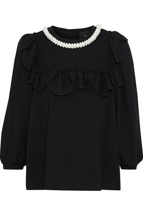 SIMONE ROCHA Faux pearl-embellished ruffled cady blouse