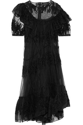 SIMONE ROCHA Tinsel-appliquéd ruffled tulle dress
