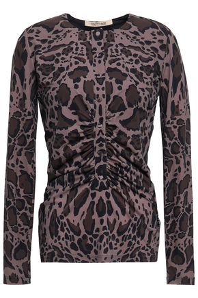 ROBERTO CAVALLI Leopard-print stretch-jersey top