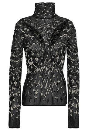 ROBERTO CAVALLI Cutout metallic jacquard-knit turtleneck top