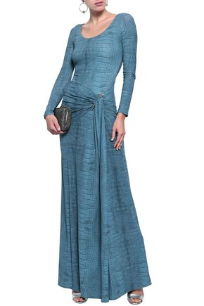ROBERTO CAVALLI Embellished printed stretch-jersey gown