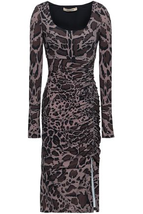 ROBERTO CAVALLI Animal-print ruched stretch-jersey dress