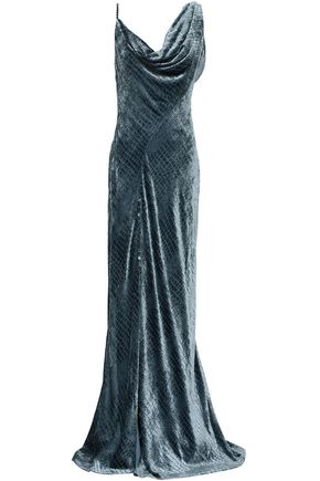 ROBERTO CAVALLI Split-front draped devoré-velvet gown