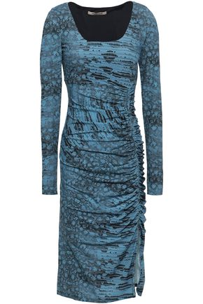 ROBERTO CAVALLI Ruched animal-print stretch-jersey dress