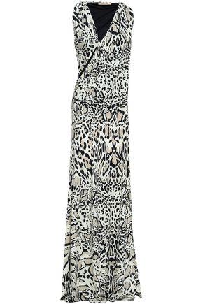 ROBERTO CAVALLI Animal-print cutout stretch-jersey maxi dress
