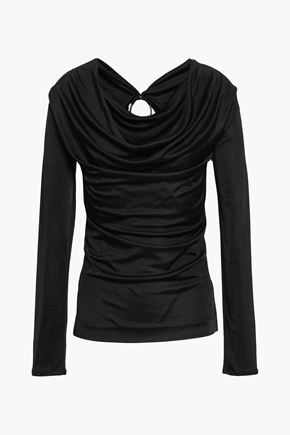 ROBERTO CAVALLI Embellished draped stretch-knit top