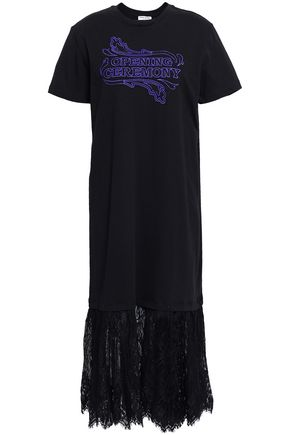 OPENING CEREMONY Lace-paneled embroidered cotton-jersey midi dress