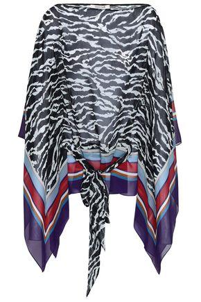 ROBERTO CAVALLI Draped zebra-print silk-georgette blouse