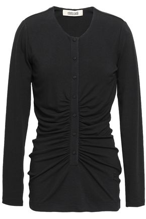 ROBERTO CAVALLI Silk satin-trimmed ruched jersey top