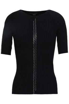 ALEXANDER WANG Bead-embellished ribbed cotton-blend top