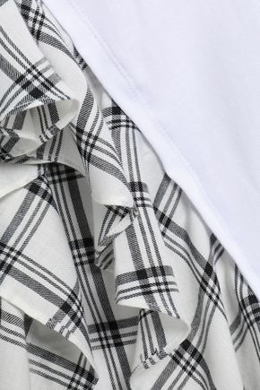 OPENING CEREMONY Ruffled cotton-jersey and checked twill T-shirt