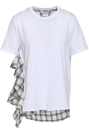 OPENING CEREMONY ラッフル付き コットンジャージー&チェックツイル Tシャツ