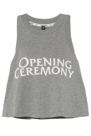 OPENING CEREMONY Torch cropped printed cotton-jersey tank