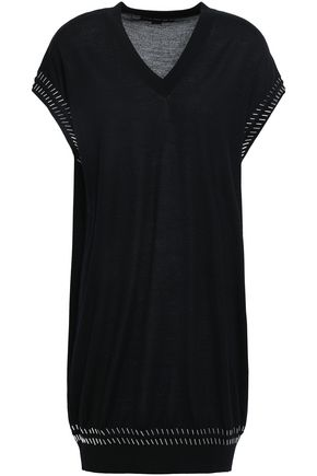ALEXANDER WANG Embellished merino wool and silk-blend mini dress