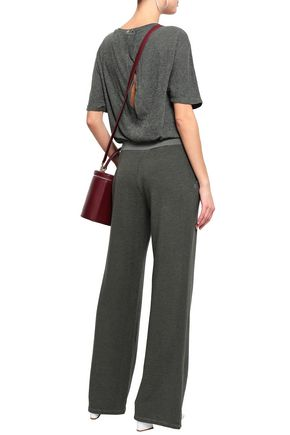 MONROW Slub jersey and French terry-paneled jumpsuit