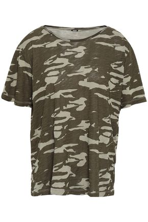 MONROW Printed cotton-jersey T-shirt