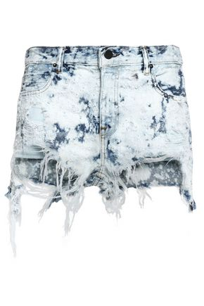 ALEXANDER WANG Bleached distressed denim shorts
