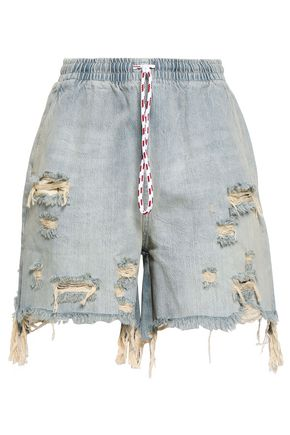 ALEXANDER WANG Distressed faded denim shorts