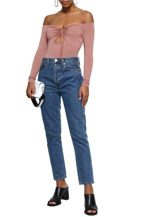 ALEXANDERWANG.T Off-the-shoulder cutout ruched stretch-modal jersey bodysuit