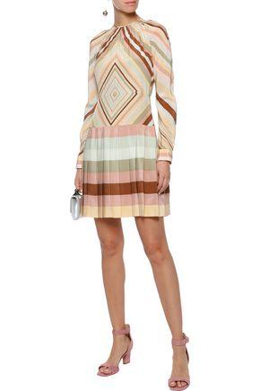 VALENTINO Printed silk crepe de chine mini dress