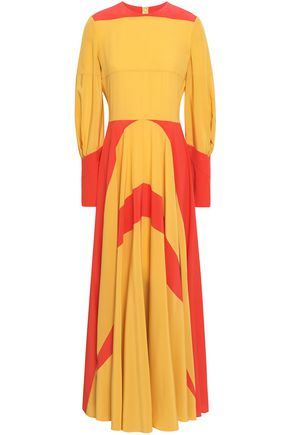 VALENTINO Two-tone silk crepe de chine maxi dress